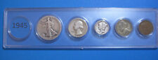 1945 US Coin Year Set 5 Coins 90% Silver