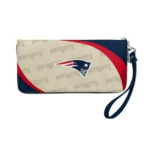 New England Patriots Ladies Women's Curved Zipped Wallet Organizer Shell NWT