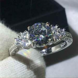 2Ct Round Cut Sparkle Simulated Diamond 18K White Gold Finish Engagement Ring