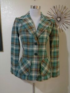 70s JR. THINGS GREEN/BROWN PLAID WIDE LAPEL FITTED MENSWEAR STYLE MOD BLAZER XS