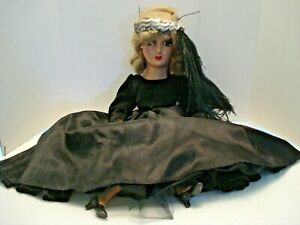 Vintage Composition Head Boudoir Bed Doll Black Dress Peacock Feather 24 in.