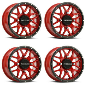 4 ATV/UTV Wheels Set 15in Raceline Krank Red 4/137 5+2 HP1K