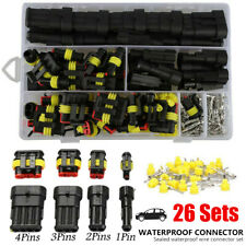 26Sets 1/2/3/4 Pin Electrical Wire Connector Plug Set Waterproof Automotive Plug