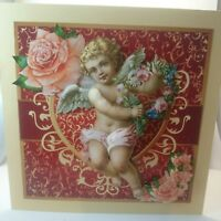 Handmade 3D wings Cherub angel cupid roses birthday day card mother's day card