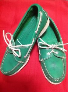 Cole HAAN Green Leather Dockside Loafer Moccasins Top-Sider Shoes 5.5M