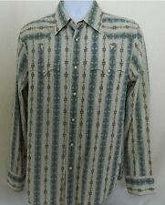 Express Men's Shirt Long Sleeve Size Medium M Brown Grey Cotton Pearl Snaps