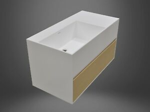 Wall Hung Solid Surface Stone Vanity with Bamboo Drawer 600 & 750 900 Sizes