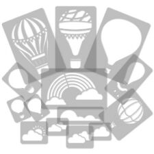 14 x wiederverwendbare Kunststoff-Schablonen / HEIßLUFTBALLON - WOLKE / 34 bis 8