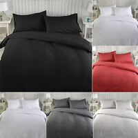 Luxury Plain Dyed Duvet Quilt Cover Bedding Bed Set Double With Pillowcases