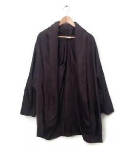 ESKANDAR Coat Jacket 0 Brown 100% Silk Open Front Puffer Neck Lagenlook VTG