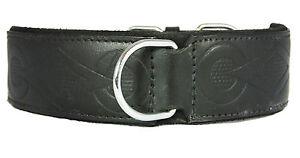 Black Retro Design Leather Staffy Staffordshire Bull Terrier Dog Collar Bulldog