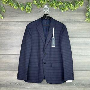 NEW TOMMY HILFIGER Conrad Suit Jacket Mens 40R Navy Blue Wool Plaid Sport Coat