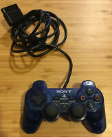Sony PlayStation 2 OEM Dual Shock Clear Blue Controller SCPH-10010 - TESTED!