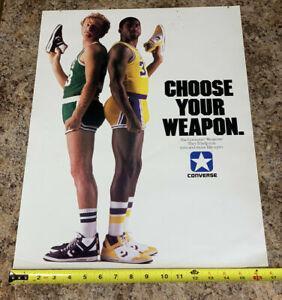 Vintage 1980s Larry Bird Magic Johnson Converse Choose Your Weapon Poster