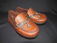 Willy Moccasin Slip On Tobacco Shoe Chocolate Trim Tassels  Handsewn Sz 1.5