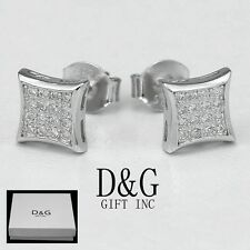 Square*Studs Earring Unisex - Box Dg Men's Sterling Silver 925.Ice-Out 6mm