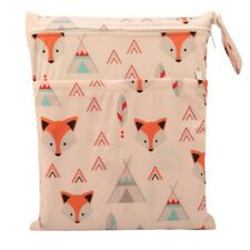 Wet Dry Bag Baby Cloth Diaper Nappy Bag Reusable Two Zipper American Native Fox