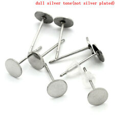 6mm- 100pcs. 304 Stainless Steel Earring Posts/Bases/Settings with Backs- 13x6mm