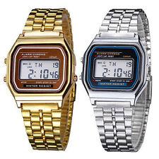 Retro Metall Digital Uhr 80er Trend Vintage Damen Herren Kinder Armbanduhr