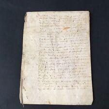 Parchemin Velin Acte Notarié 1662 Contenu À Déterminer