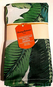 Tommy Bahama Home Water Repellent Green Tropical Leaf Napkins - Set of 6 NIP