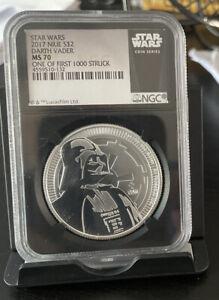 2017 Star Wars DARTH VADER MS70 1st 1000 Silver 1oz Coin $2 Niue BLACK Core