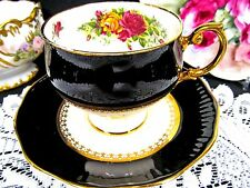 Rosina tea cup and saucer black & roses pattern teacup footed waisted
