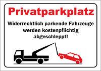 "wetterfestes PVC-Schild: ""Privatparkplatz"" 20x30cm"