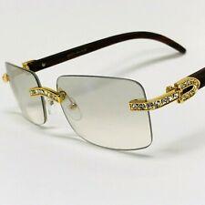 Sunglasses Men Elegant Tinted Clear Wood Buff Glasses Unique Square Rimless 2020