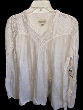 Denim & Supply Ralph Lauren Cotton  Boho Peasant Festival Lace Blouse Ivory M/L