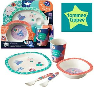 Tommee Tippee 5Pcs Pack BPA Free, Eco Friendly Chompers Bamboo Kids Dinner Set