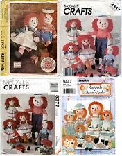 "Choice: Raggedy Ann & Andy Craft Sewing Patterns Vintage Modern 10"" - 36"" Dolls"
