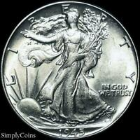 1945 Walking Liberty Silver Half Dollar ~ AU About Uncirculated ~ US Coin