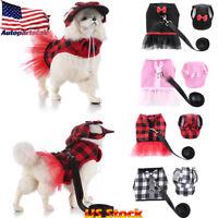 US Pet Dog Cat Leash Rope Puppy Hat Pet No-Pull Harness Bowknot Plaid Vest Set