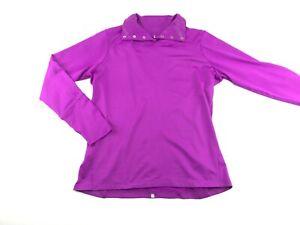 Nike Golf Dri Fit Womens Purple Snap Up Shawl Collar Athletic Pullover L