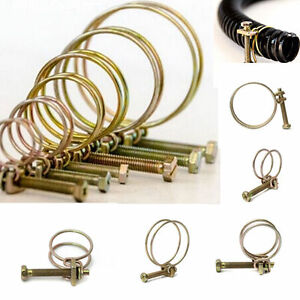 9 - 120 MM DOUBLE WIRE LARGE SMALL BIG BORE POND PUMP HOSE PIPE CLIP BOLT CLAMP
