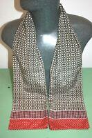 Silk Style Vintage Scarf red cream mod dandy retro mens womens cravat *195