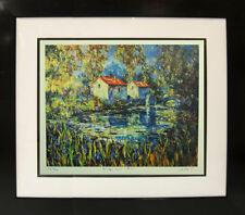 """Bridge and River"" by Duaiv (Framed Fine Art Lithograph Contemporary Landscape)"