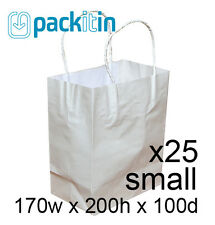 x25 WHITE paper gift CARRY tote party BAGS with handles - SMALL (170 x 200mm)