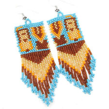 New listing New Handcrafted Blue Brown Gold Seed Beaded Dangle Fashion Hook Earrings E20/17