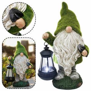 Green Solar Powered Gnome Lantern Statue LED Garden Night Light Outdoor Decor AU
