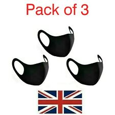 3 x Reusable Washable Breathable Face Masks Black Mask Unisex UK Seller