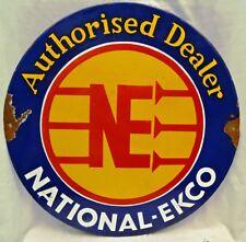 NATIONAL EKCO SIGN ADVERTISE AUTHORISED DEALER VINTAGE ENAMEL PORCELAIN COLLECTI