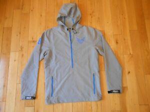 Nike CALVIN JOHNSON 81 Megatron Gray 1/2 Zip Hooded Jacket Mens S Detroit Lions