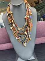 Vintage Bohemian Signed Chico's Beaded Multi Strand Waterfall Necklace Boho 24""