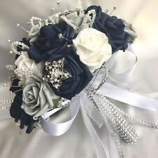 BRIDES POSY BOUQUET, NAVY BLUE, WHITE & GREY ROSES,  ARTIFICIAL WEDDING FLOWERS