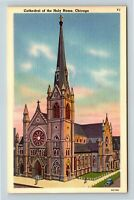Chicago IL, Holy Name Cathedral Gothic Style, Steeple, Linen, Illinois Postcard