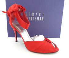 STUART WEITZMAN Size 8 Red Satin Open Toe Heels Bow Pumps Shoes