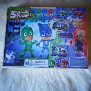 PJ MASKS It's Time to be a HERO! 5 Wood Jigsaw Puzzle Superheroes Mini Batman