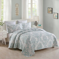Aqua Blue Ivory Bedspread Coverlet All Season Beautiful Diamond Floral Quilt Set